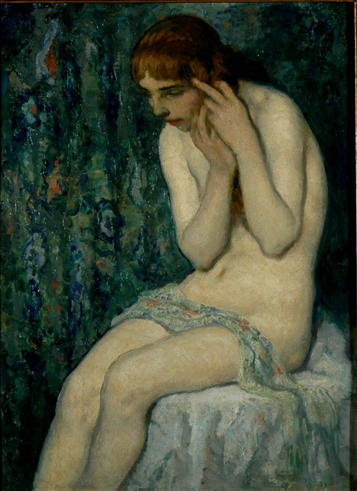 Francis Luis Mora ,   Boudoir      Oil on canvas ,  16 x 12 in.