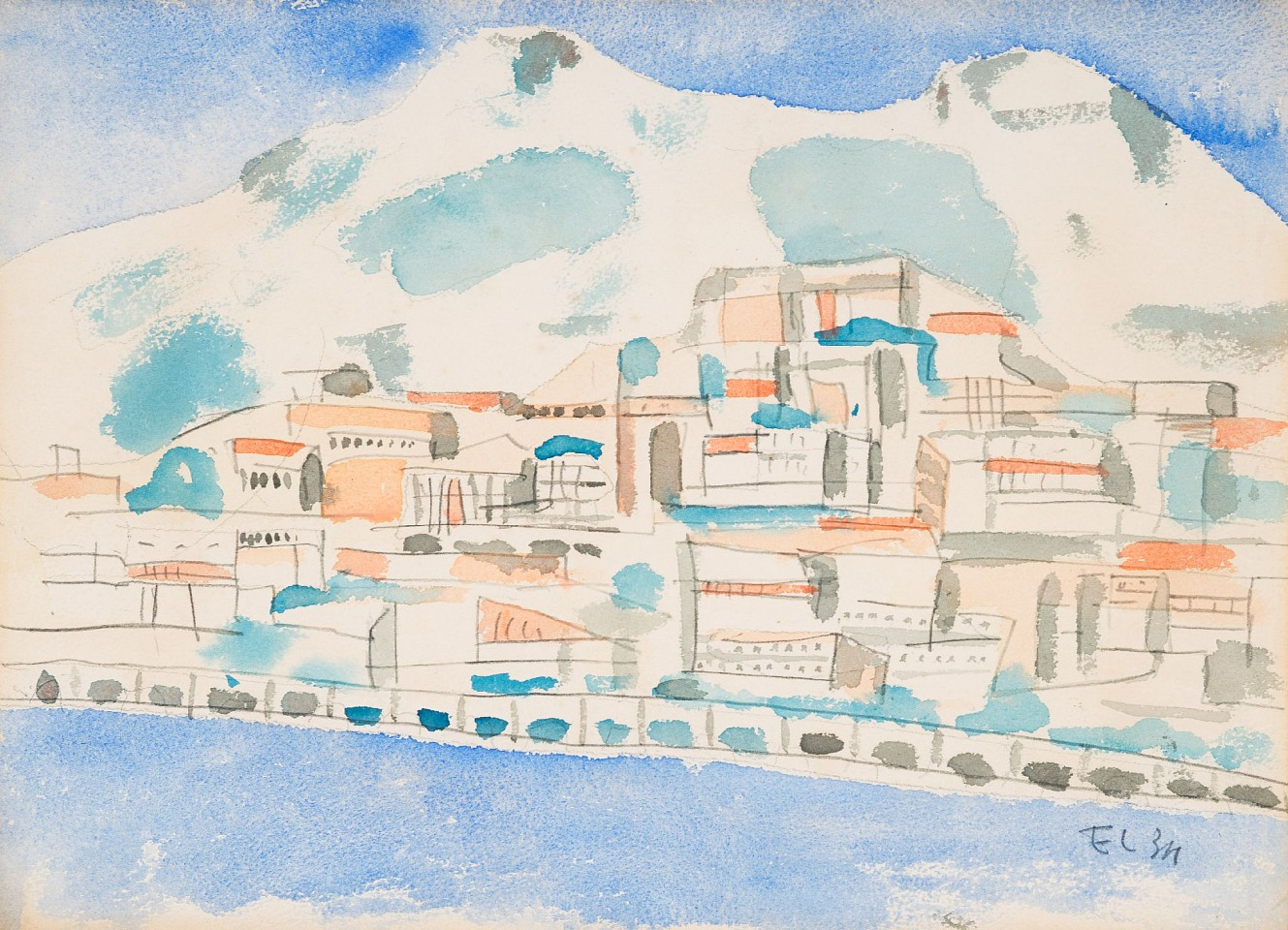 Fernand Leger ,   Untitled Landscape  ,  1934     Watercolor and pencil ,  12 3/4 x 9 1/2 in.